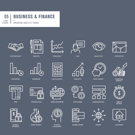 Set of thin lines web icons for business and finance Vector