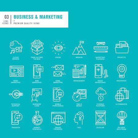 ビジネスとマーケティングのための細い線 web アイコンのセット