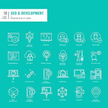 Ensemble de lignes minces icônes web pour le référencement et le développement web Vecteurs