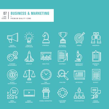 Ensemble de lignes fines icônes web pour les entreprises et le marketing Illustration
