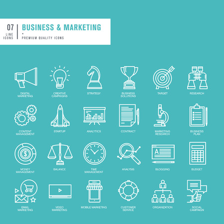 Set van dunne lijnen web pictogrammen voor business en marketing Stock Illustratie