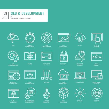 Conjunto de iconos de las líneas finas para web SEO y desarrollo de sitios web