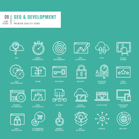 cloud computing technologies: Set of thin lines web icons for SEO and website development
