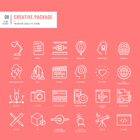 stationary: Set of thin lines web icons for graphic and web design