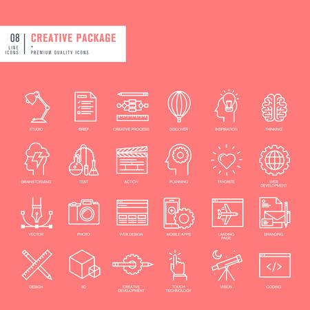 Set van dunne lijnen web pictogrammen voor grafische en webdesign Stock Illustratie