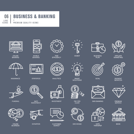 ビジネスおよび銀行のための細い線の web アイコンのセット  イラスト・ベクター素材