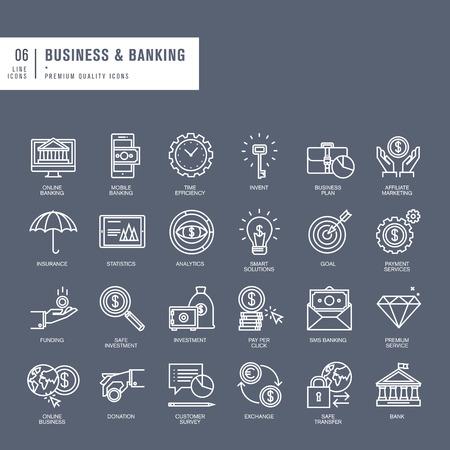 seguro: Conjunto de líneas finas iconos web para los negocios y la banca