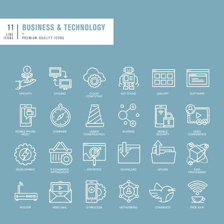Set of thin lines web icons for business and technology Vector