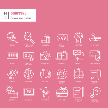 on line shopping: Set of thin lines web icons for nine shopping