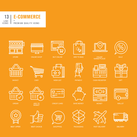 shop icon: Set of thin lines web icons for ecommerce Illustration