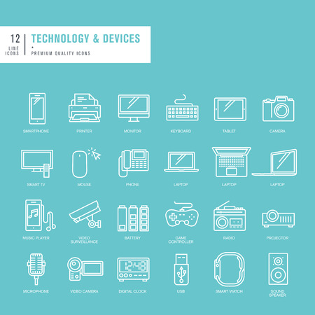 Set of thin lines web icons for technology Vector