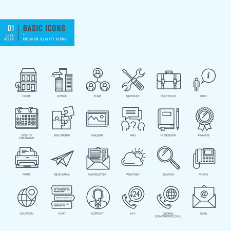 basics: Thin line icons set. Universal icons for website and app design. Illustration