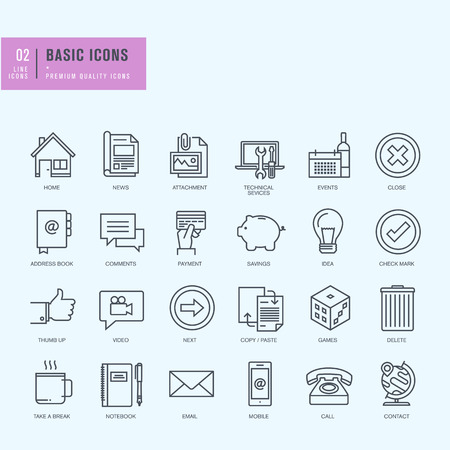 Dunne lijn iconen set. Universele pictogrammen voor website en app design. Stock Illustratie