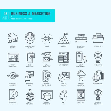 D'icônes de lignes minces fixés. Icônes pour le commerce électronique de marketing de l'entreprise.