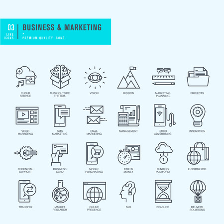 Dunne lijn iconen set. Pictogrammen voor business marketing e-commerce. Stock Illustratie