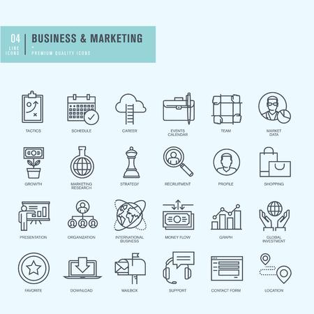 wereldbol: Dunne lijn iconen set. Pictogrammen voor het bedrijfsleven.