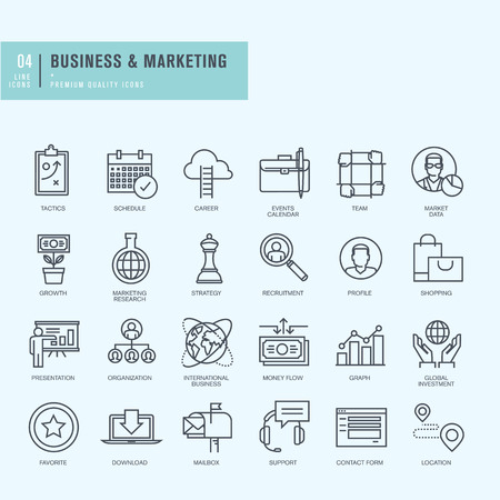gestion empresarial: Iconos de línea delgada. Iconos para los negocios.