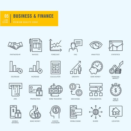 細い線のアイコンを設定します。ビジネス金融 mbanking のためのアイコン。  イラスト・ベクター素材