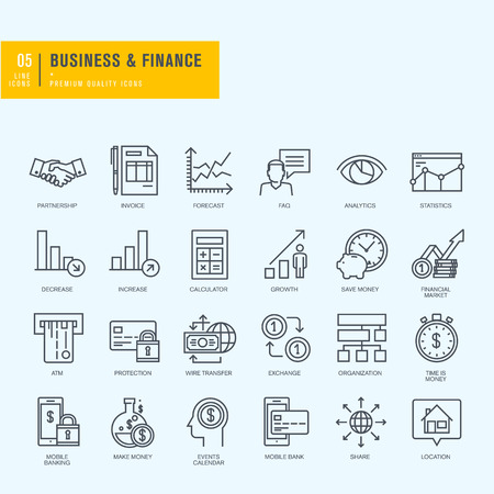 Dunne lijn iconen set. Pictogrammen voor zakelijke financiën mbanking.