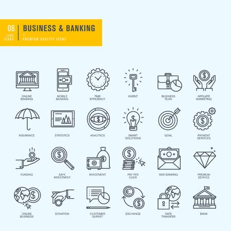 pieniądze: Ikony ustaw cienkie linie. Ikony dla biznesu bankowego eBanking.