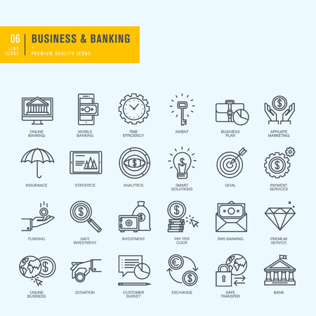 bank icon: Thin line icons set. Icons for business banking ebanking.