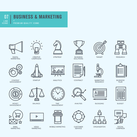 marketing icon: Thin line icons set. Icons for business digital marketing.