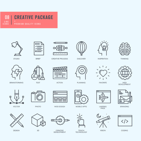 package icon: Thin line icons set. Icons for graphic and web design.