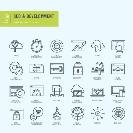 investigando: Iconos de línea delgada. Iconos para el sitio web seo y diseño de aplicaciones y desarrollo.