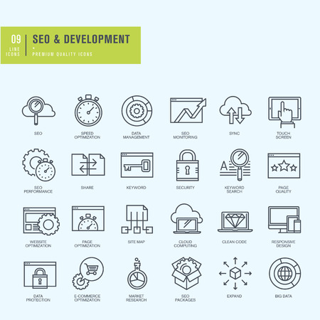 quality management: Thin line icons set. Icons for seo website and app design and development. Illustration