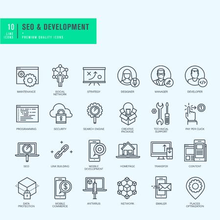 얇은 라인 아이콘을 설정합니다. SEO 웹 사이트와 응용 프로그램 설계 및 개발에 대 한 아이콘입니다.