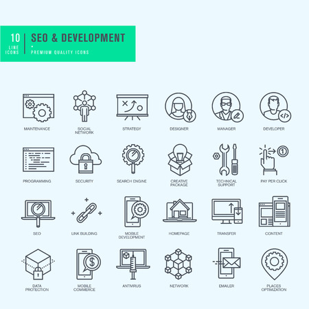 Thin line icons set. Icons for seo website and app design and development. 向量圖像