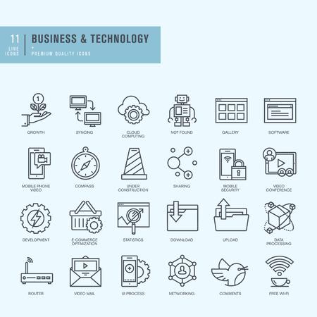 Dunne lijn iconen set. Pictogrammen voor zakelijke technologie. Stock Illustratie