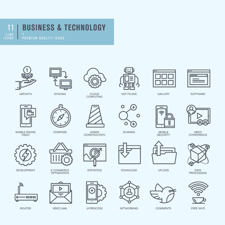 robot: Iconos de l�nea delgada. Los iconos de la tecnolog�a de negocios. Vectores