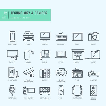 Dunne lijn iconen set. Pictogrammen voor technologie elektronische apparaten.