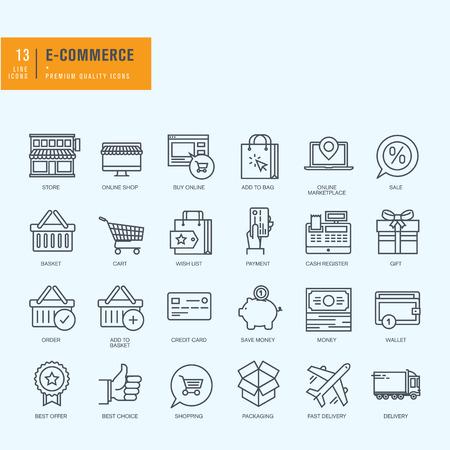 flaco: Iconos de línea delgada. Los iconos de las compras de comercio electrónico en línea.