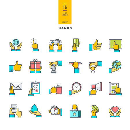Set of line modern color icons of hand using devices using money in business situations in design ecology marketing process. Иллюстрация