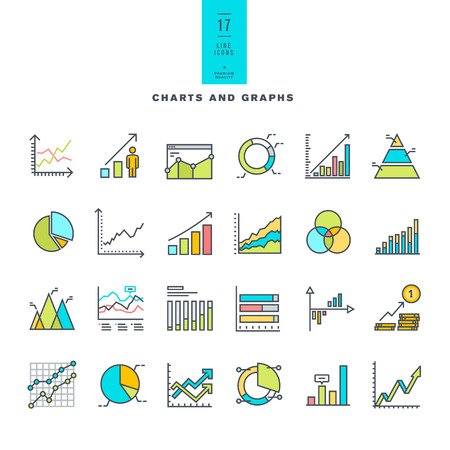 graph trend: Set of line modern color icons of charts and graphs