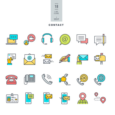 contact icon set: Set of line modern color icons for contact communication media