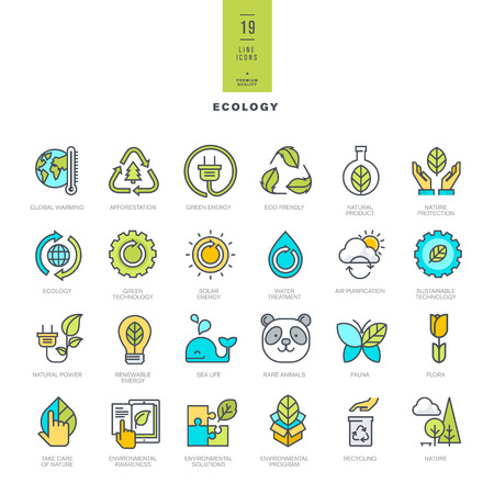 flora fauna: Set of line modern color icons for ecology