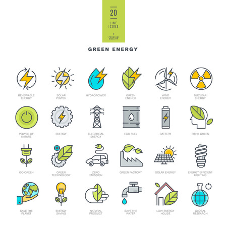 eco house: Set of line modern color icons for green energy