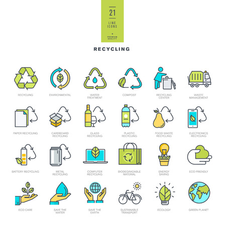 recycle waste: Set of line modern color icons for recycling