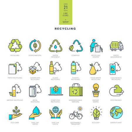 Zestaw kolorowych ikon nowoczesnej linii do recyklingu