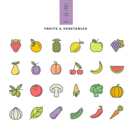 verduras: Conjunto de l�nea modernos iconos de color de frutas y hortalizas Vectores