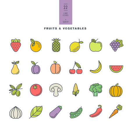 banana leaves: Set of line modern color icons for fruit and vegetables