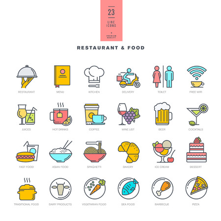 fast food restaurant: Set of line modern color icons for restaurant and food