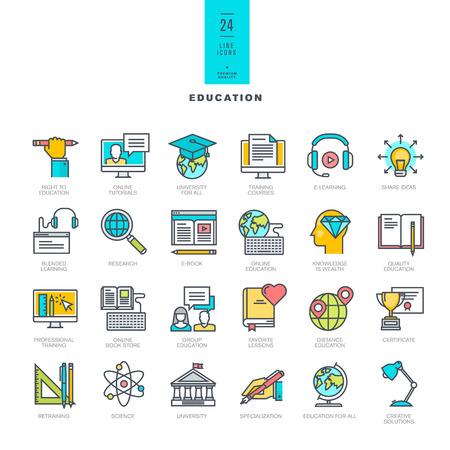 образование: Набор линейных современных цветных иконок для образования