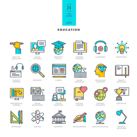 education technology: Set of line modern color icons for education