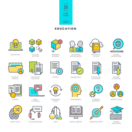 computer training: Set of line modern color icons on the theme of education