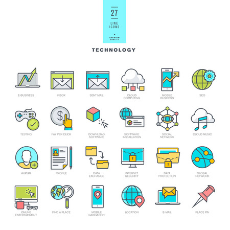 Set of line modern color icons for technology