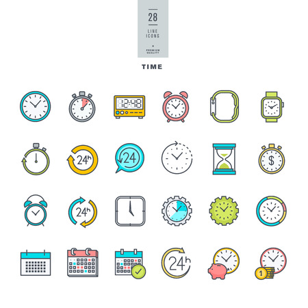 time line: Set of line modern color icons on the theme of time